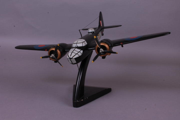 *Bravo Delta Models Bristol Blenheim. Handcrafted in Wood & Handpainted. Length 34cm. Wingspan 45cm. Height incl. stand 25cm